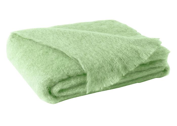 Pistachio Green Brushed Mohair Throw New Zealand Mohair