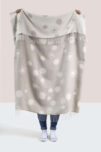 Mist Snowball Cotton Jacquard Throw   100% Cotton Jacquard