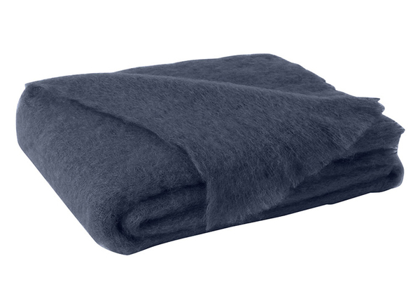 Indigo Brushed Mohair Throw | New Zealand Mohair