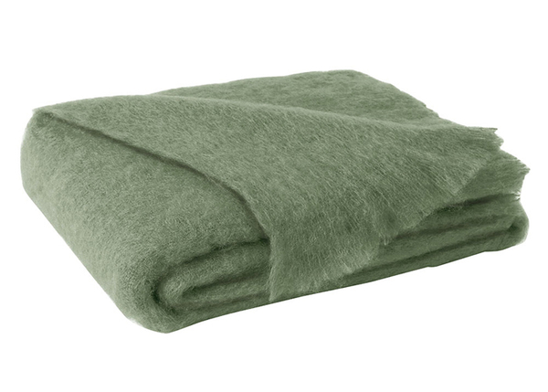 Olive Brushed Mohair | New Zealand Mohair Throws