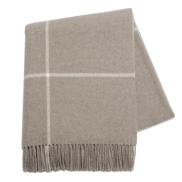 Taupe Windowpane Cashmere Throw | Italian Windowpane Cashmere Throws