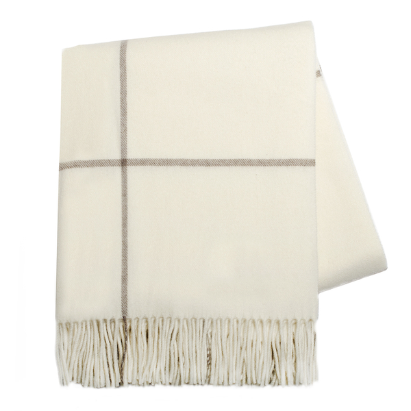 Ecru & Taupe Windowpane Cashmere Throw | Windowpane Cashmere