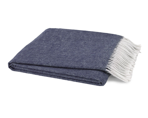 Indigo Italian Herringbone Throw | Italian Herringbone Throws