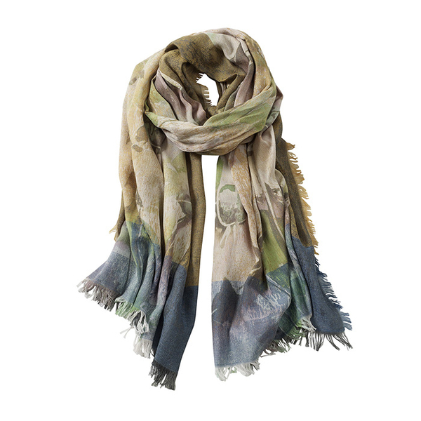 AVvOLTO Floral Digital Printed Scarf, Green | Scarves