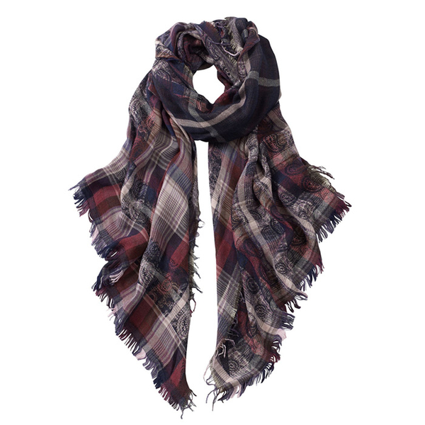 AVvOLTO Asymmetric Checked Paisley Scarf, Purple | Scarves