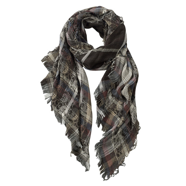 AVvOLTO Asymmetric Checked Paisley Scarf, Gray | Scarves