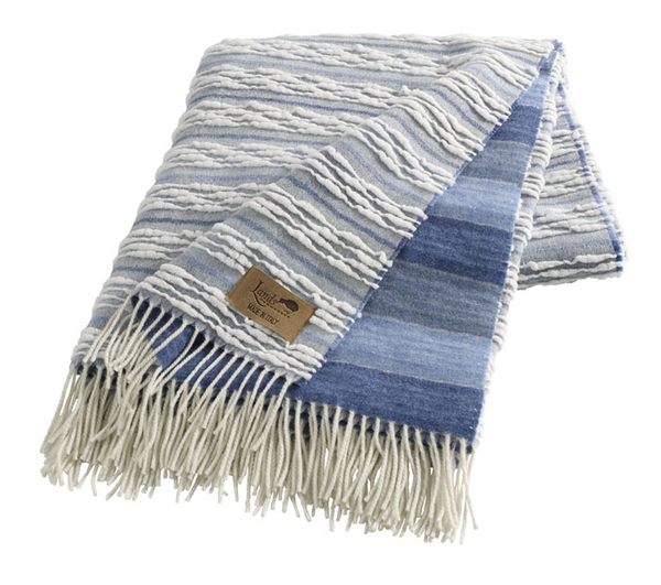 Blue Strato Italian Blanket | Textured Strato Italian Throws