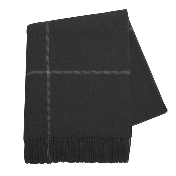 Onyx Windowpane Cashmere Throw | Italian Windowpane Cashmere Throws