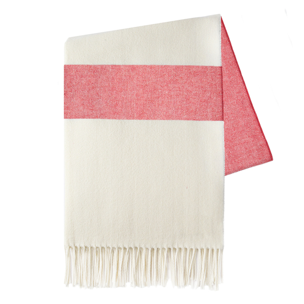 Coral Sydney Herringbone Stripe Throw | Sydney Herringbone Stripe Italian Throws