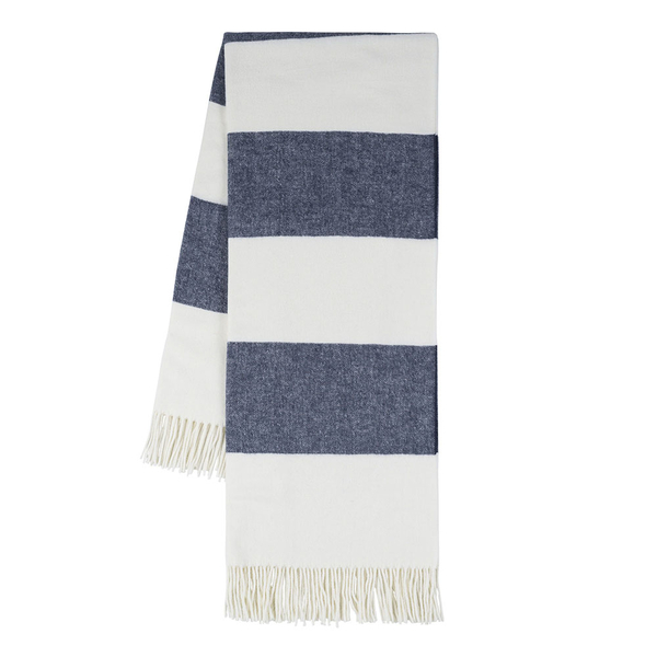 Navy Rugby Stripe Throw | Rugby Stripe Italian Throws