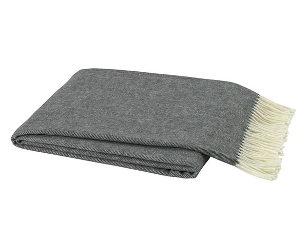 Charcoal Gray Italian Herringbone Throw | Italian Herringbone Throws