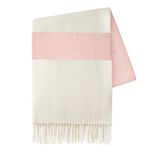 Blush Sydney Herringbone Stripe Throw | Sydney Herringbone Stripe Italian Throws