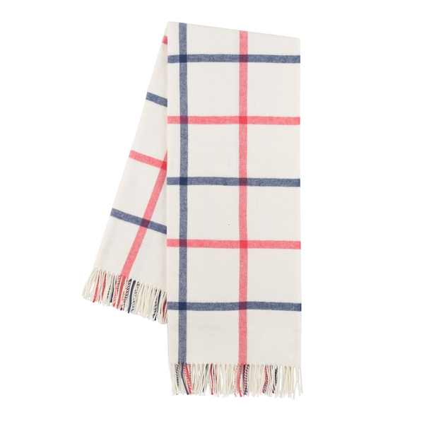 Indigo and Coral Tattersall Plaid Throw | Tattersall Plaid Italian Throws