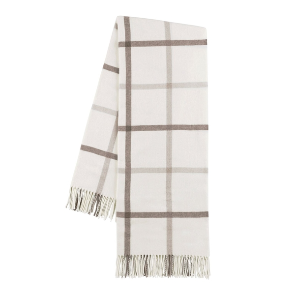 Barnwood and Dune Tattersall Plaid Throw | Tattersall Plaid Italian Throws