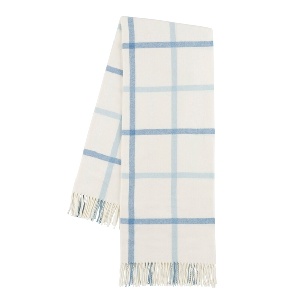 Blue Denim and Baby Blue Tattersall Plaid Throw | Tattersall Plaid Italian Throws