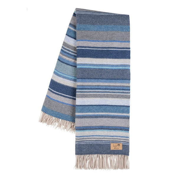 Milano Blue Italian Blanket | Milano Striped Merino Wool Throws