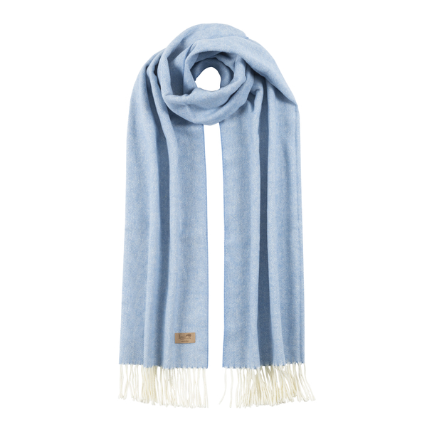 Denim Cotton Blend Herringbone Scarf | Scarves