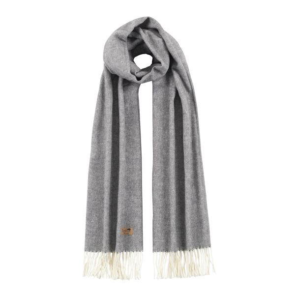 Charcoal Cotton Blend Herringbone Scarf | Scarves