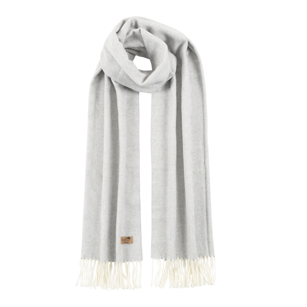 Light Gray Cotton Blend Herringbone Scarf | Scarves