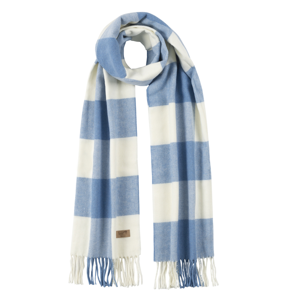 Denim Cotton Blend Buffalo Check Scarf | Scarves