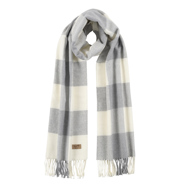 Light Gray Cotton Blend Buffalo Check Scarf | Scarves