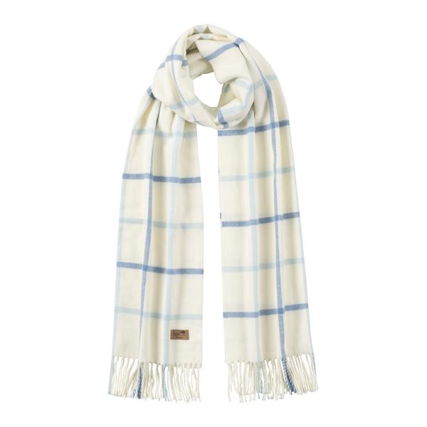 Denim & Baby Blue Cotton Blend Tattersall Plaid Scarf | Scarves