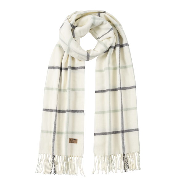 Charcoal & Seaglass Blue Cotton Blend Tattersall Plaid Scarf | Scarves
