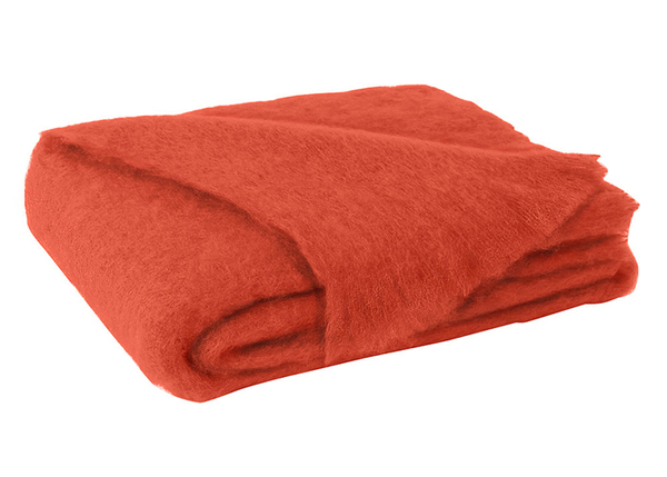 Hibiscus Orange Brushed Mohair Throw | New Zealand Mohair Throws
