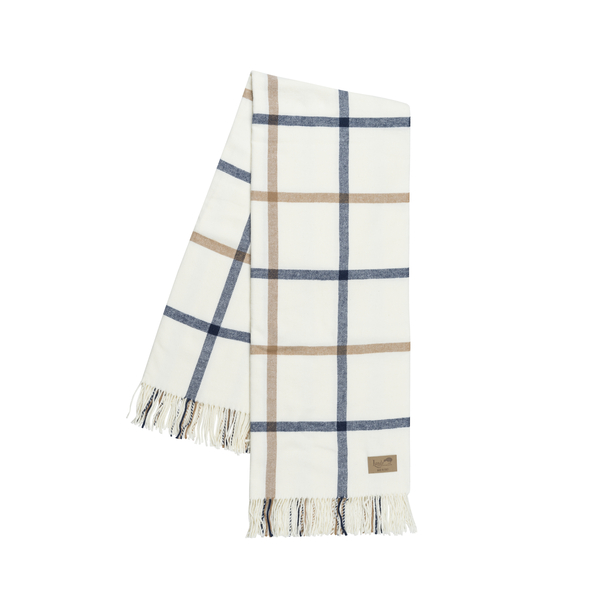Navy and Caramel Tattersall Plaid Throw | Tattersall Plaid Italian Throws