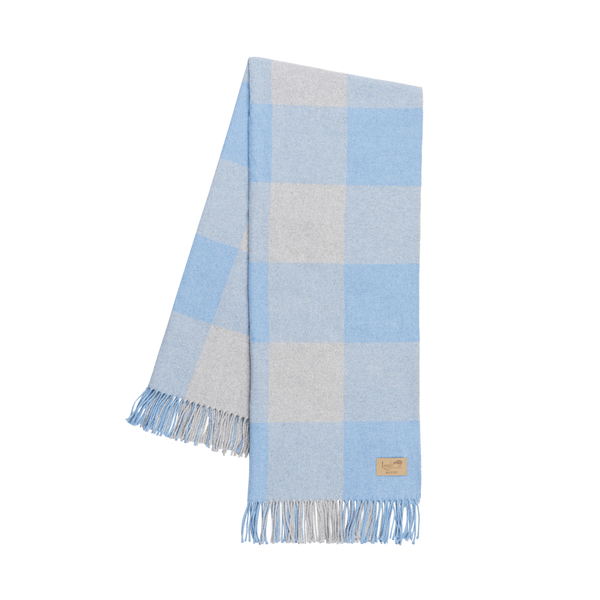 Denim and Light Gray Buffalo Check Throw | Buffalo Check Italian Throws