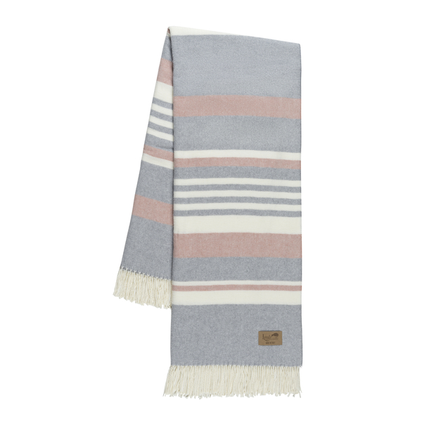 Pink and Light Gray Portside Italian Throw | Portside