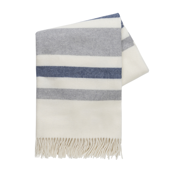 Blue and Light Gray Italian Riviera Cashmere Throw | Italian Riviera Cashmere Throw