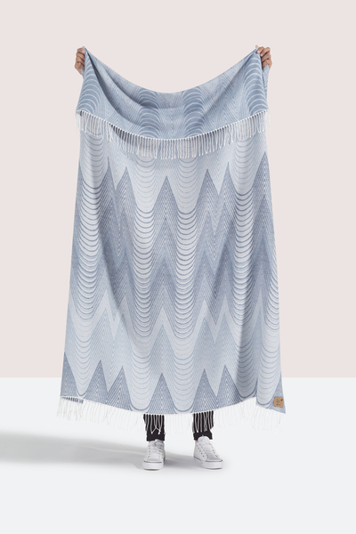 Blue Deco Cotton Jacquard Throw | Shop By Collection