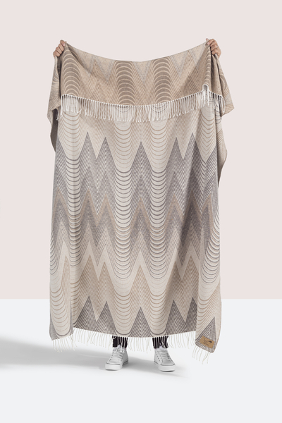 Taupe Deco Cotton Jacquard Throw | Shop By Collection