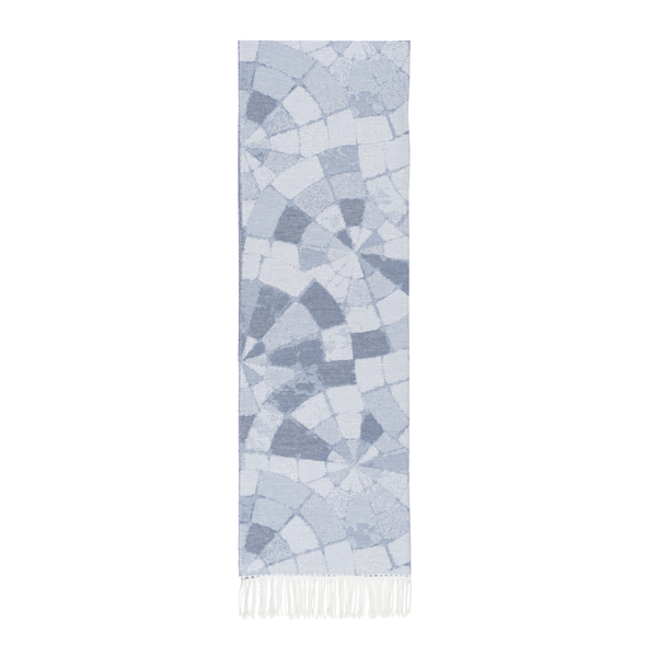 Blue Mosaic Cotton Jacquard Throw | Mosaic Cotton Jacquard