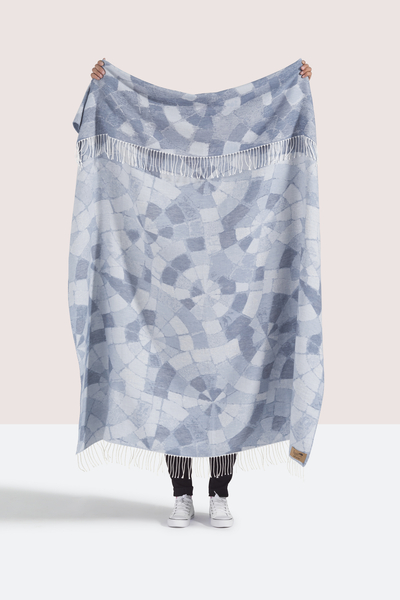 Blue Mosaic Cotton Jacquard Throw | Shop By Collection