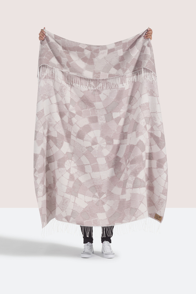 Blush Mosaic Cotton Jacquard Throw   Shop By Collection