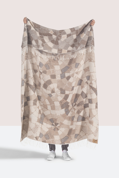 Taupe Mosaic Cotton Jacquard Throw   Shop By Collection