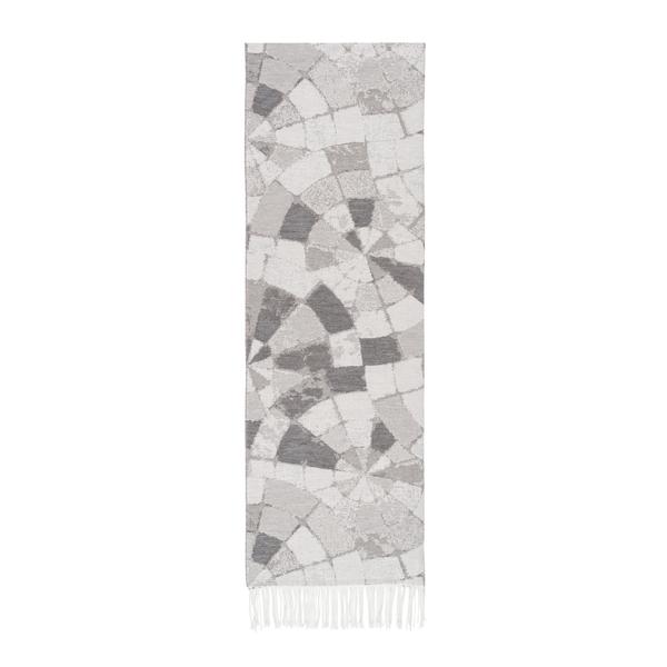 Light Gray Mosaic Cotton Jacquard Throw | Mosaic Cotton Jacquard