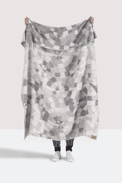 Light Gray Mosaic Cotton Jacquard Throw | Shop By Collection