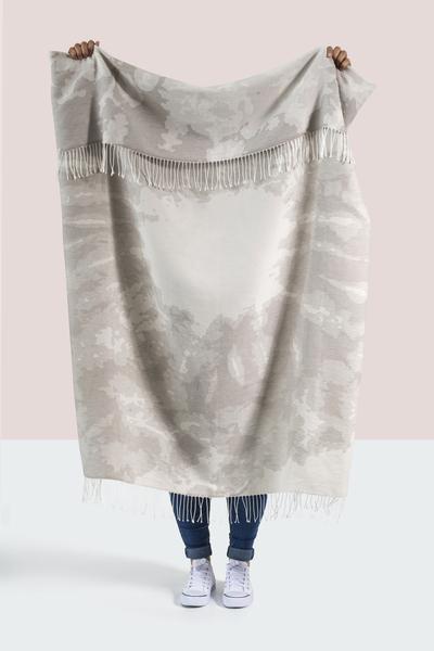 Fossil Gray Tie Dye Cotton Jacquard Throw | 100% Cotton Jacquard