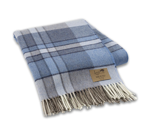 Image Blue Mod Plaid Lambswool Throw