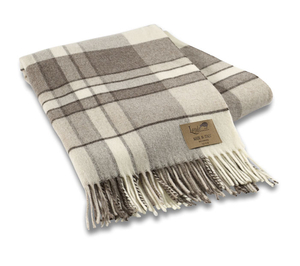 Image Taupe Mod Plaid Lambswool Throw