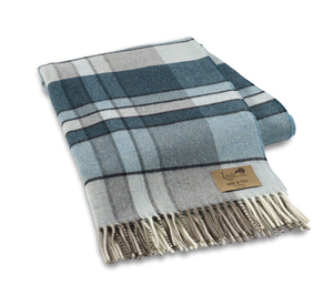 Image Teal Mod Plaid Lambswool Throw