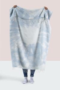 Image Blue Tie Dye Cotton Jacquard Throw