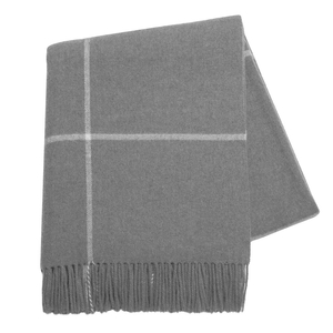 Image Gray Windowpane Cashmere Throw