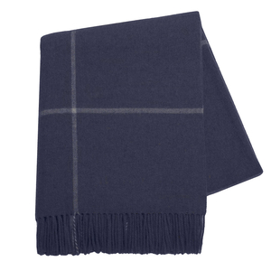 Image Navy Windowpane Cashmere Throw