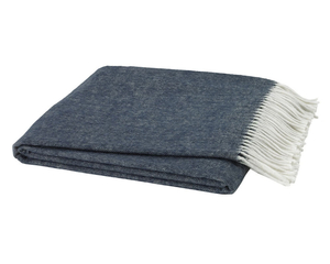 Image Navy Blue Italian Herringbone Throw