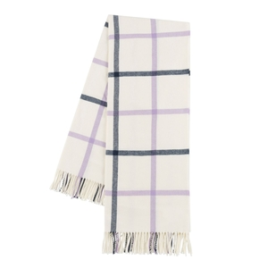 Image Lilac and Navy Tattersall Plaid Throw