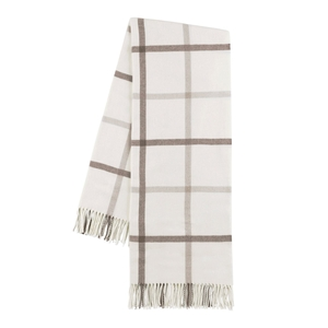 Image Barnwood and Dune Tattersall Plaid Throw